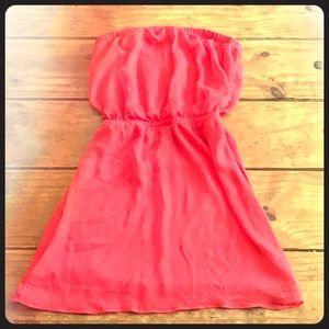 Express Coral Chiffon Strapless Dress Size Small